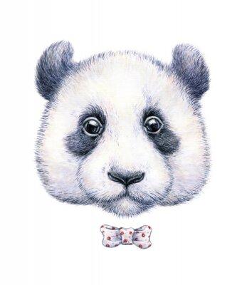 Наклейка Акварель рисунок панды на белом фоне
