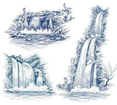 Наклейка Вода падает векторный рисунок