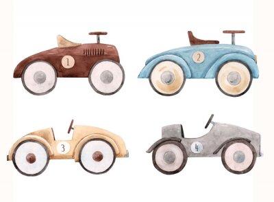 Наклейка Watercolor baby car illustration