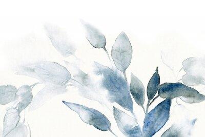 Наклейка акварельный фон с листьями