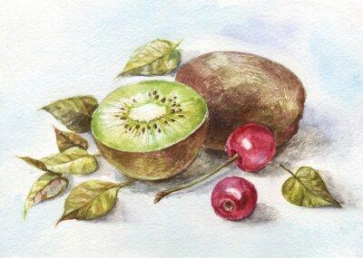 Наклейка акварель вишня и киви