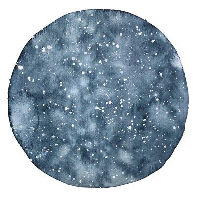 Наклейка Акварель круг фоном ночного неба