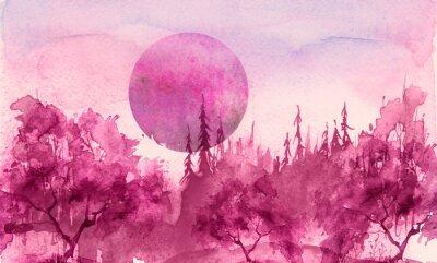 Наклейка Watercolor drawing, illustration. Forest landscape, fir, pine, tree, cedar, red, pink sun, sunset, sunrise. Splash paint, abstract illustration. Art painting. Winter landscape. Mystic forest
