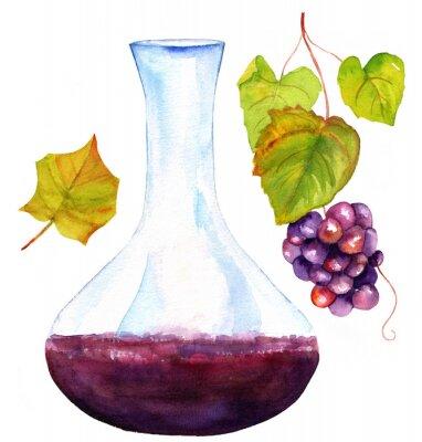 Наклейка Акварельные рисунки вина Графин, листьев винограда и виноград