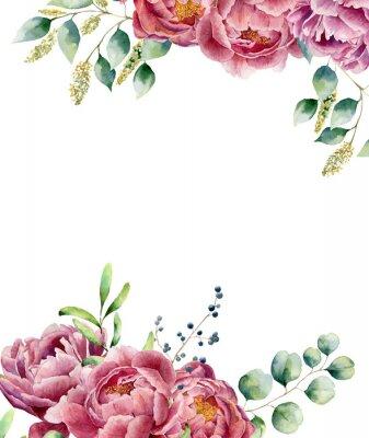Наклейка Акварель цветочные карты на белом фоне. Винтажный стиль Posy набор с эвкалипта ветвями, пиона, ягод, зелени и листьев. Цветок ручной росписью дизайн