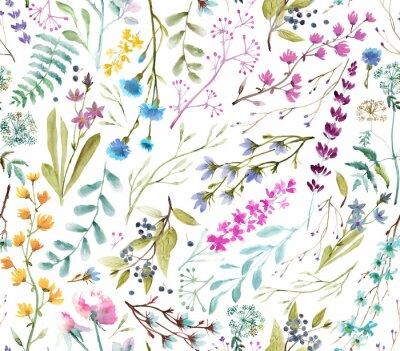 Наклейка  Watercolor flowers. Seamless watercolor pattern.