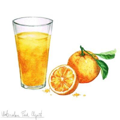 Наклейка Акварель еды Клипарт - Апельсиновый сок, изолированных на белом
