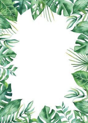 Наклейка Акварель кадр с тропическими листьями и цветами, акварельные пятна. Золотой, круглый, многоугольный узор для открыток, приглашений, свадебных и летних дизайнов.