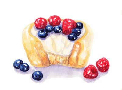 Наклейка Акварели фрукты пирог чизкейк с ягодами на белом фоне