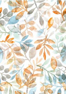 Наклейка акварель расписанные листья и ветви. бесшовный узор на белом фоне