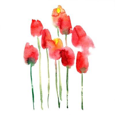 Наклейка Акварель ручной росписью красных и желтых тюльпанов