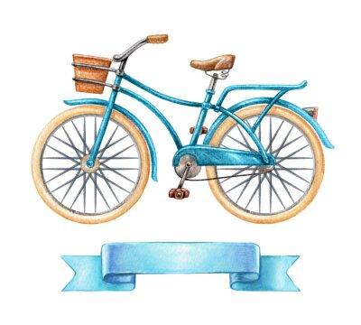 Наклейка Акварель иллюстрации, синий велосипед, ретро велосипед, пустой тег ленты, баннер, этикетка, транспорт клип, изолированных на белом фоне
