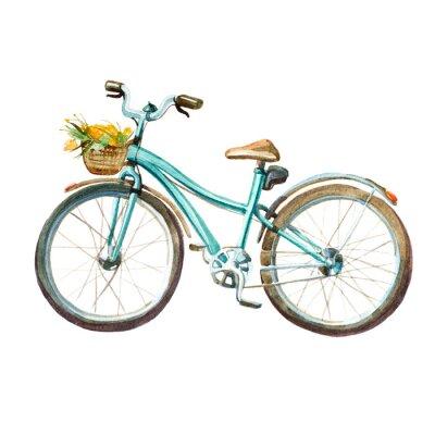 Наклейка Иллюстрация акварель. Детский мятой велосипед с корзиной, полной желтых цветов.