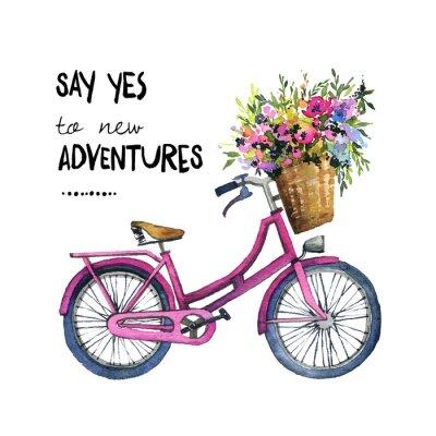 Наклейка Акварельные иллюстрации велосипед с цветами