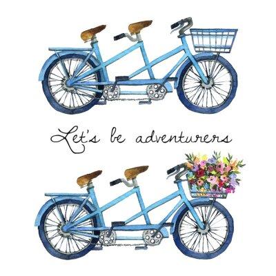 Наклейка Акварельная иллюстрация тандемных велосипедов