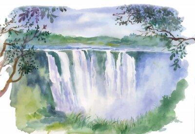 Наклейка Акварель иллюстрация красивый водопад