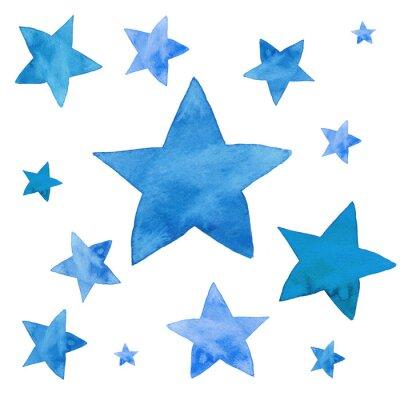 Наклейка Акварель иллюстрация синих звезд набор