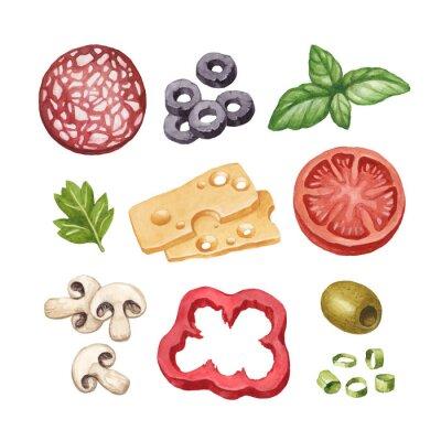 Наклейка Акварель иллюстрация пищевых ингредиентов