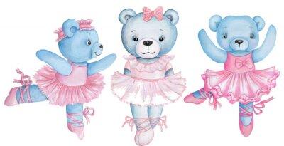 Наклейка Watercolor illustration of three dancing teddy bears in pink ballet dresses.