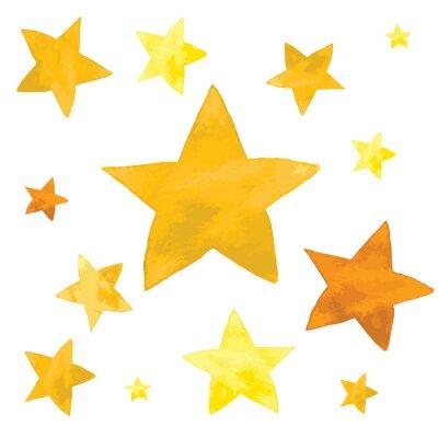 Наклейка Иллюстрация акварель желтых звезд