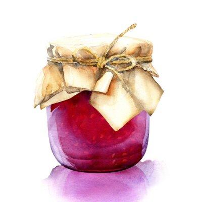 Наклейка акварель банку с красной ягоды варенья