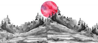 Наклейка Watercolor logo, postcard, background Black silhouette of the forest, pine, spruce, cedar, wild grass, bush. Watercolor landscape,coast, island.black splash of paint, abstract spots. Red, pink sun