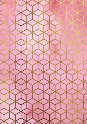 Наклейка Акварельный мраморный фон с геометрическим рисунком куба.