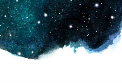 Наклейка Акварель ночного неба фон со звездами. космический макет с пространством для текста.