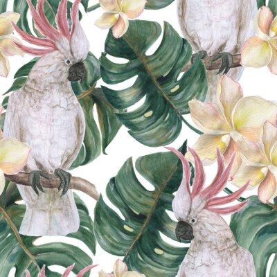 Наклейка Акварель картины бесшовные модели с тропическими листьями deliciosa, plumeria цветы и какаду