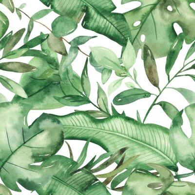 Наклейка Watercolor seamless pattern green tropical leaves