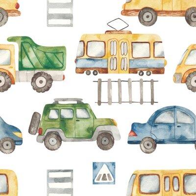 Наклейка Watercolor seamless pattern with urban cartoon cute transport. Texture for boyish design, birthday, wallpaper, scrapbooking, prints, clothes, fabrics, textiles, packaging.