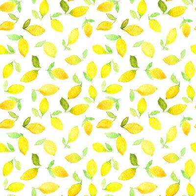 Наклейка Акварель бесшовные модели с желтыми лимонами. Может быть использован для оберточной бумаги, фон день рождения, День матери и любые праздники.