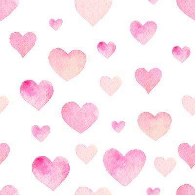 Наклейка Акварель бесшовные модели вектор сердцах День Святого Валентина