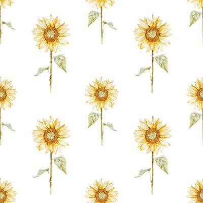 Наклейка Watercolor sunflower pattern