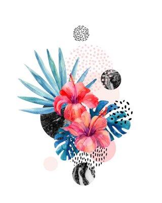 Наклейка Акварельные тропические цветы на геометрическом фоне с мраморными, каракулистыми текстурами
