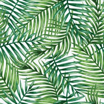 Наклейка Акварели Тропические пальмы листья бесшовные модели. Векторная иллюстрация.