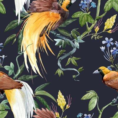 Наклейка Watercolor tropical seamless pattern
