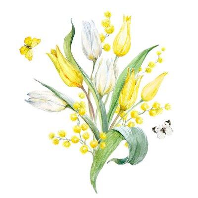 Наклейка Композиция акварельного тюльпана