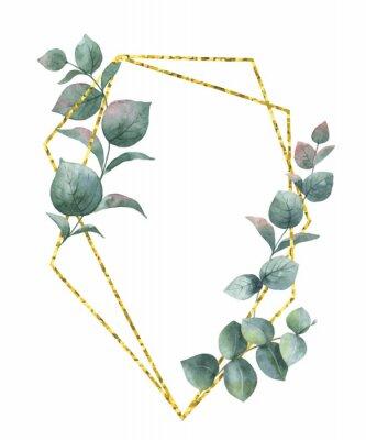 Наклейка Акварельная векторная композиция из ветвей эвкалипта и золотой геометрической рамки.