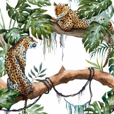 Наклейка Акварельный рисунок вектор леопарда