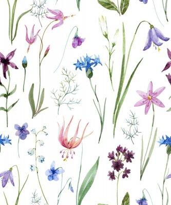 Наклейка Акварельный узор с дикими цветами