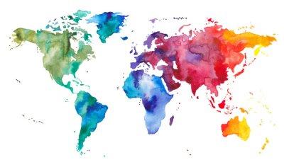 Наклейка Акварельная карта мира