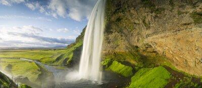 Наклейка водопад падает с неба в Исландии