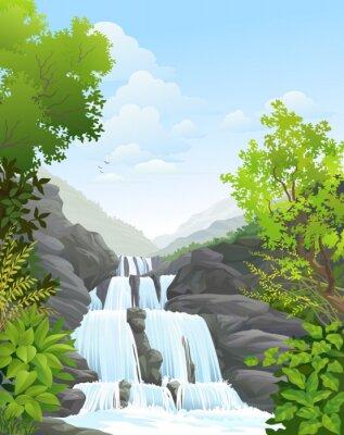 Наклейка Водопад в тропических дождевых лесов