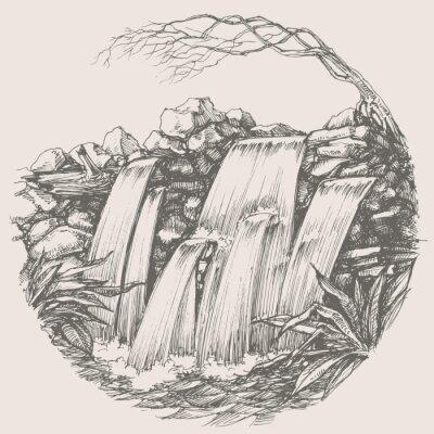 Наклейка Waterfall round drawing