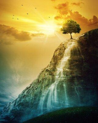 Наклейка Водопад дерево