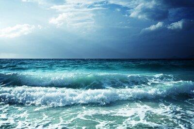 Наклейка волны на пляже Сейшельские острова