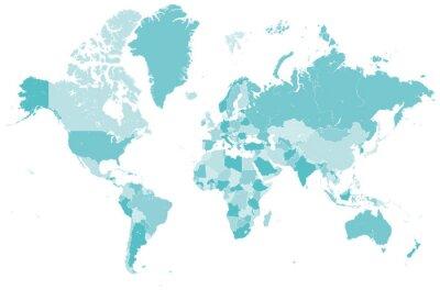 Наклейка Вельт Karte синее Mit землям Grenzen Vektor GRAFIK