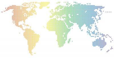 Наклейка Weltkarte - gepunktet в ден Regenbogenfarben