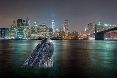 Наклейка кита в реке в ночное время Манхэттен